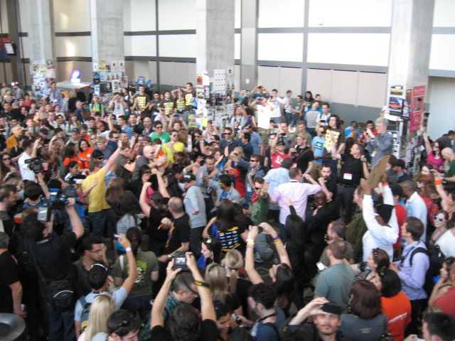 SXSW attendees erupt in mass dancing in the convention center lobby