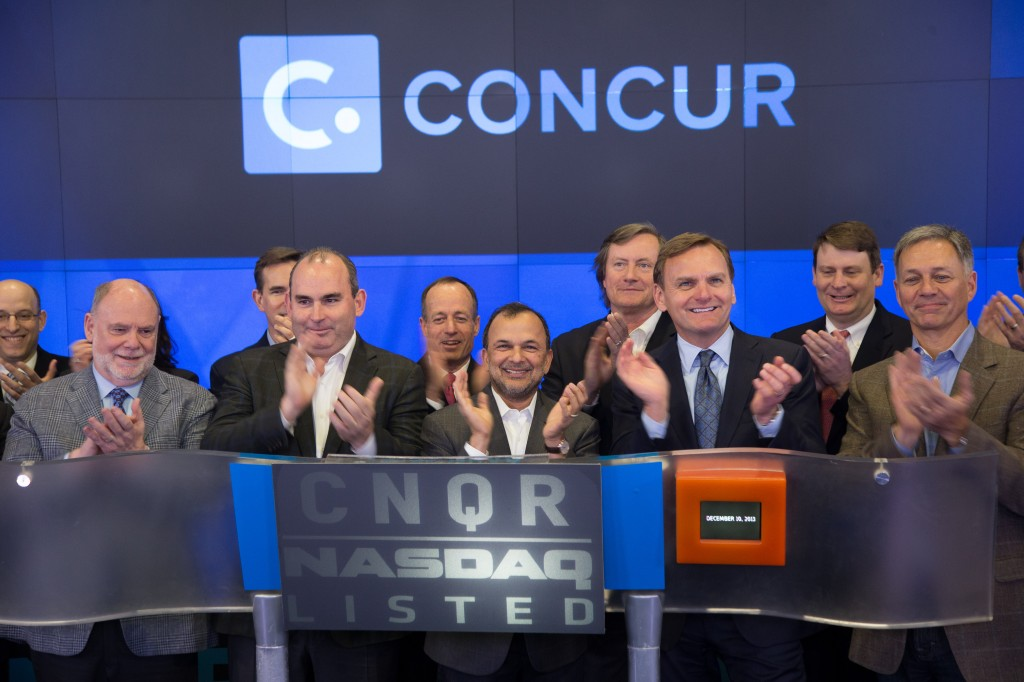 Concur co-founder and CEO Steve Singh and team after ringing the NASDAQ closing bell today when Concur visited the MarketSite in Times Square.