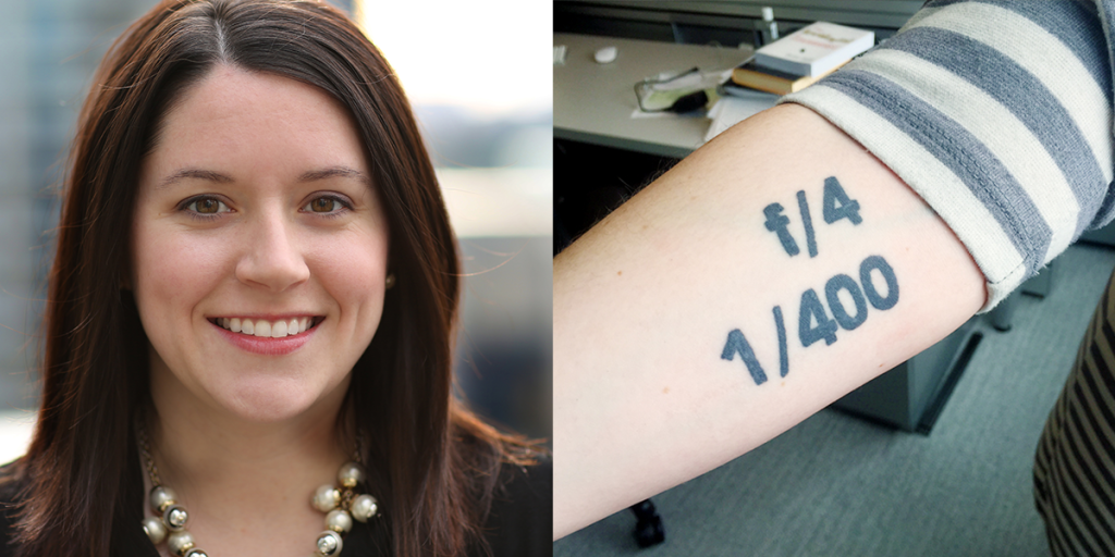 Megan McMullen shows off her photography-themed tattoo.