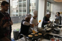 Members of Weber Shandwick Seattle's leadership team made pancakes!